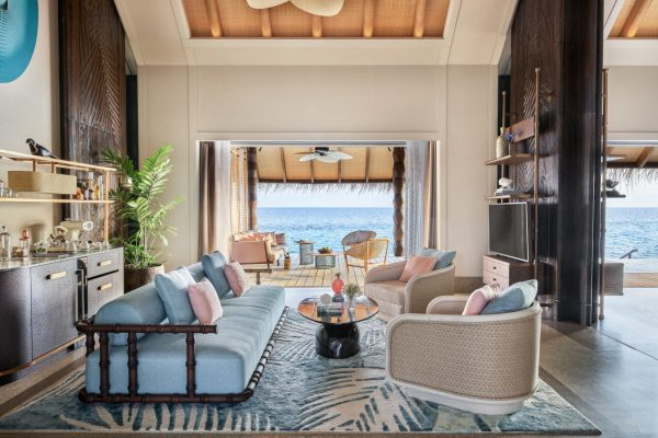 Sunset Luxury Water Villa with Pool Living Room1